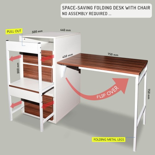 Home Office Table (Space saving folding desk)